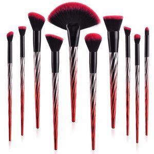 10-Pc Metallic Flame Red/Silver Prof. Brush Set